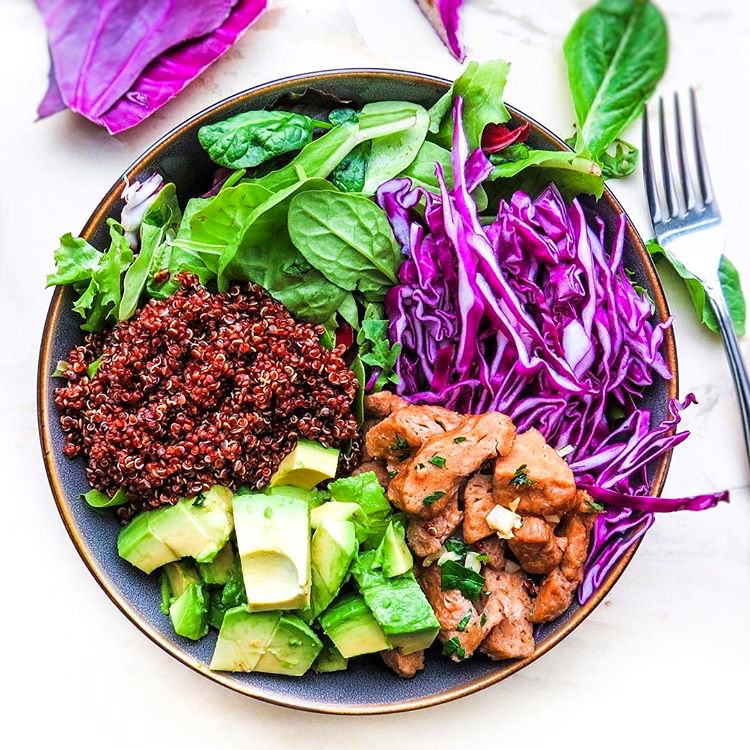 Vegan Colorful Meatless Chicken Salad Bowl
