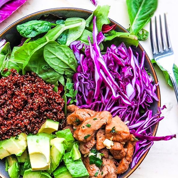 Vegan Colorful Meatless Chicken Summer salad Bowl